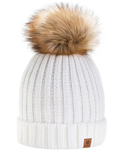 e5c04f40947 4sold Rita Womens Girls Winter Hat Wool Knitted Beanie with Large Pom Pom  Cap Ski Snowboard Hats Bobble (Ecru) - Buy Online in Oman.