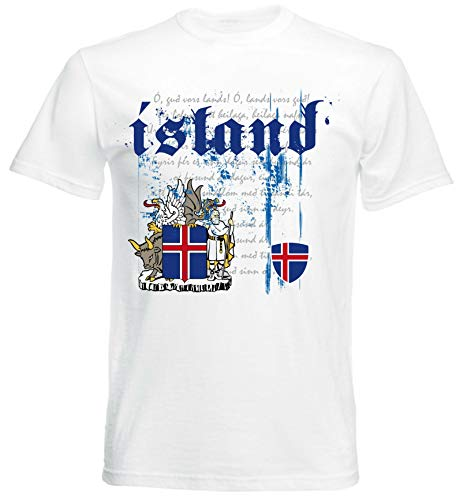 aprom T-Shirt Island Iceland Nationalhymne Flagge Herren NH (L) (Norwegen Fußball Trikot)