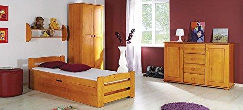 Einzelbett aus Kiefernholz LOLA - mit Stauraum für Bettwäsche und Lattenrost, Massivholz ohne Matraze (kiefer in Farbe erle)