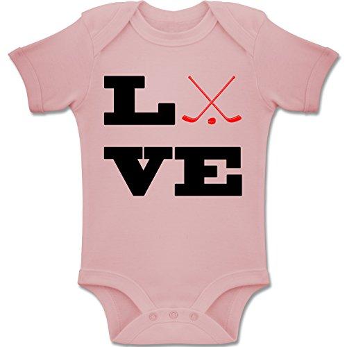 Sport Baby - Eishockey Love - 6-12 Monate - Babyrosa - BZ10 - Baby Body Kurzarm Jungen Mädchen