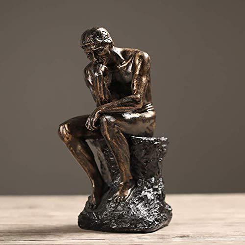 uen Rodin, Nackte Männliche Statue Figur Der Denker Sitzt Auf Felsen Statue Skulptur Arbeitszimmer Home Office Dekor Geschenke-golden 11x14x26cm(4x6x10inch) ()