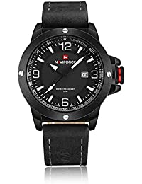 Naviforce Men's Analog Round Dial Rubber Hook Buckle Band 30M Quartz Movement Watch (9077A)