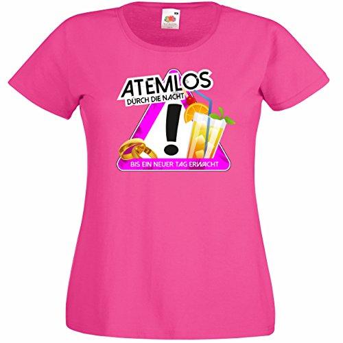 Damen T-Shirt für Den Junggesellenabschied mit Motiv Atemlos durch die Nacht (Frauen/Braut) in Pink, Größe XXL