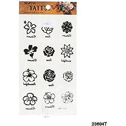 Tattoo diferentes flores de flores en negro