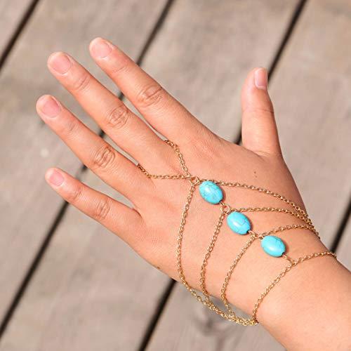 Yean Türkis Armband Hand Harness Bangle Fingerringe Slave Kette Link Ankle Chain für Frauen Mädchen Dame Geschenk