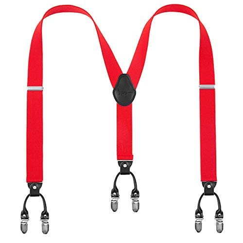 Lafayon bretelle uomo bretelle per uomo 6 fibbie y dietro a righe uomo bretelle durevoli bretelle regolabili elastiche clip di metallo forte (red)