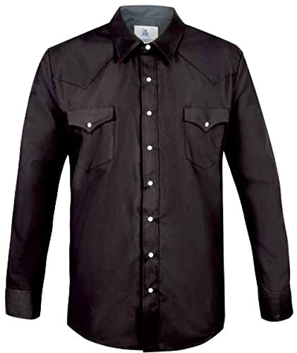 Modestone Men's Fitted Western Hemd Black XL (Shirt Ely Cattleman Western)