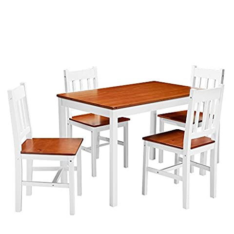 Panana Dining Room Set Wooden Table and 4 Chairs Solid Pine Wood Seats Kitchen Dining Room Furniture (Brown and