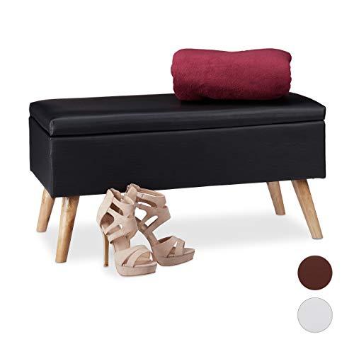 #Relaxdays Sitzbank mit Stauraum, 40 L, gepolstert, Holzbeine, Truhenbank Kunstleder, HxBxT: 40 x 80 x 39,5 cm, schwarz#