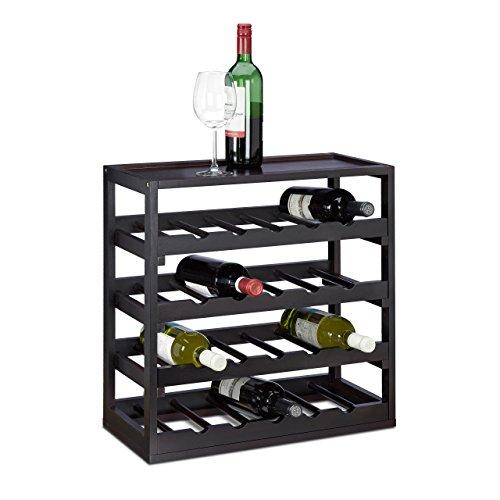 Relaxdays Weinregal aus Holz H x B x T: ca. 52 x 52 x 25 cm Robustes Flaschenregal für Wein...