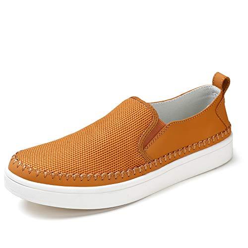 STQ Bequeme Sportschuhe für Herren Bootsschuh Boot Deck Canvas Slip On Schuhe Classic Old Skool Low Top Turinschuhe(Braun) -