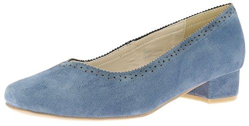 HIRSCHKOGEL Trachten Schuhe Damen Pumps 3002712 blau, Größe:39 EU, Farbe:Jeans