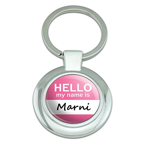 Price comparison product image Graphics and More Marni Hello My Name Is Classy Round Chrome Plated Metal Keychain