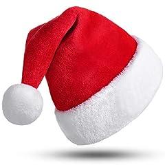 Idea Regalo - CITÉTOILE Cappello da Babbo Natale, Cappello di Natale per Adulti, Cappellino di Natale per Donna Uomo, Cappello Natalizio di Velluto, Costumi di Babbo Natale, Natale Decorazione, Berretto Rosso