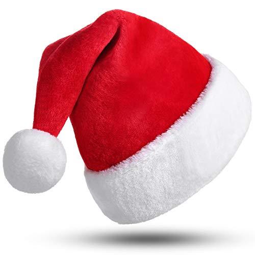 CITÉTOILE Berretto di Natale per Adulti, Cappello da Babbo Natale, Cappello di Natale per Donna Uomo, Velluto con Grandi Costumi con Pompon Costume di Natale Decorazione Berretto Rosso Grande Formato