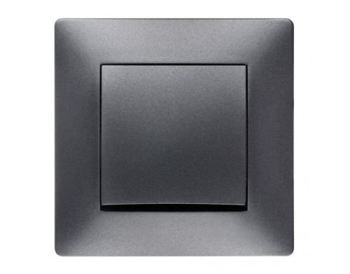 Schuko Steckdose Ausschalter Taster Lichtschalter Schalter VOLANTE ANTHRAZIT Einsatz + Rahmen + Abdeckung (Ein/Ausschalter 2610-08)