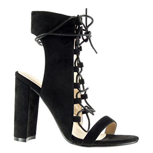 Angkorly - Damen Schuhe Sandalen Stiefeletten - Offen - Sexy - Spitze - Multi-Zaum Blockabsatz high Heel 11.5 cm - Schwarz 708-1 T 39