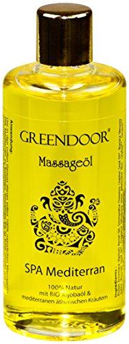 Greendoor Massageöl MEDITERRAN 100ml - BIO Jojobaöl & BIO Brokkolisamenöl & Aprikosenkernöl + mediterrane Mischung reiner ätherischer Öle aus der Natur, 100% natürliche Inhaltsstoffe, Naturkosmetik natürlich ohne Tierversuche, ohne Mineralöl, natural, naturrein