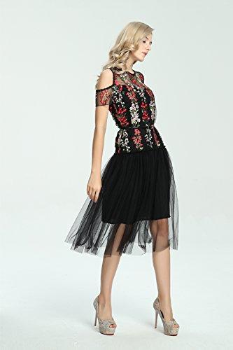 Babyonline Damen Sommerkleider Tüllkleid mit Stickerei Blumen Abendkleid Schwarz Schwarz