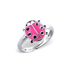 Liara Kinder Marienkäfer Ring 925 Sterling Silber Farbe.Poliert und Nickelfrei
