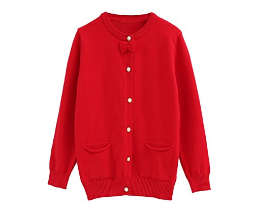 ZHUANNIAN Girls Bowknot Knitted Cardigan Long Sleeve Knitwear Pearl Button Down Sweaters (3-4years, Red)