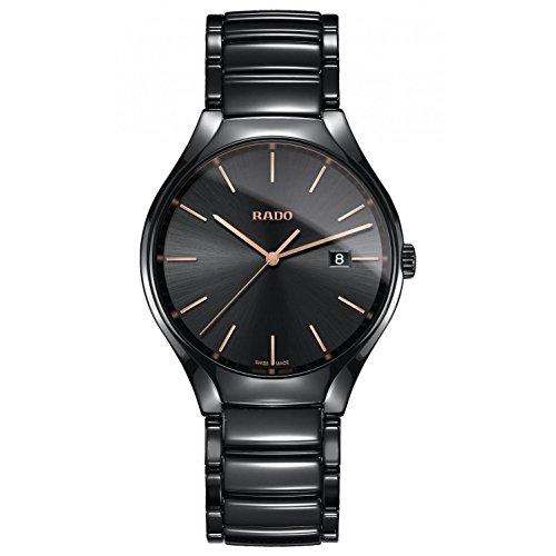 RADO Homme 40MM Bracelet & BOITIER CÉRAMIQUE Noir Quartz Montre R27238162