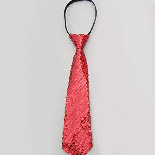 Einfache Chor Kostüm - Gogogo Kinder Tie Krawatte Glänzend Pailletten Foto Requisiten Party Kostüm Rot