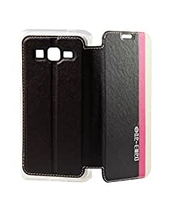 Exclucive Flip Case Cover For Samsung Galaxy Core Prime SM-G360 - Black With White And Pink Strips