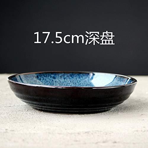 ALILEO Kreative Blauen Ofen Keramik Tiefe Schüssel Hause Heiß Gebratene Beifall Tiefe Gericht Gemüse Und Obstsalat Platte, Tiefe Schale 17,5 Cm