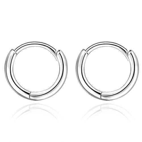 Mini Huggies Orecchini Cerchio Piccoli Argento 925 Sterling Orecchino Anello anelli orecchio Donna Uomo 10MM