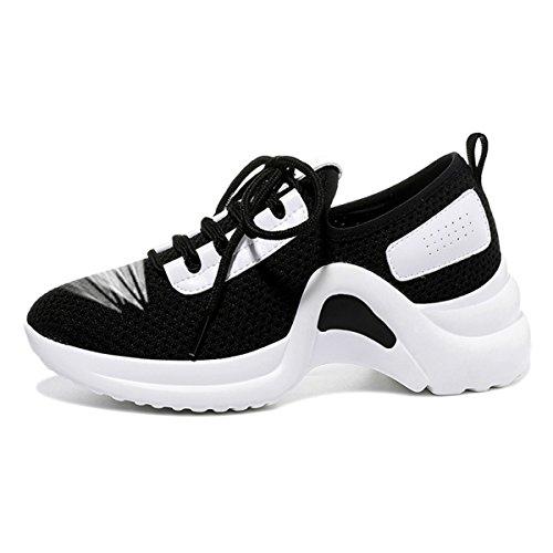 lusam Gefühl Damen Atmungsaktiv Fashion Walking Sneakers leicht Athletic Tennis Laufschuhe, damen, Schwarz , US6