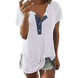 Camiseta TERMICA Manga Corta Mujer Mujer,JiaMeng Casual Señoras Camisetas de Algodón Blusa de Manga Corta Suelta con Botones Casual Camiseta Camisetas sin Mangas
