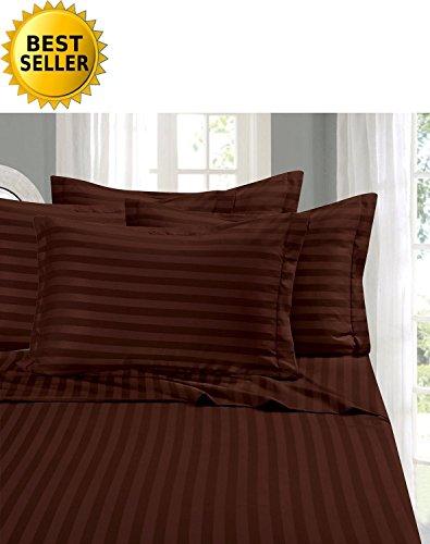Bettlaken-Set mit Elegantem Komfort Nr. 1, seidig weich, Fadenzahl 1500, ägyptische Qualität, luxuriös, knitterfrei, fleckenabweisend, 6-teilig, gestreift, Schokoladenbraun - ägyptische Komfort