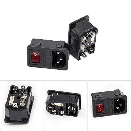 Godagoda 3 IN 1 AC 10A 250V Eingangsmodul Stecker mit LED Wippschalter und Sicherungshalter 1pc