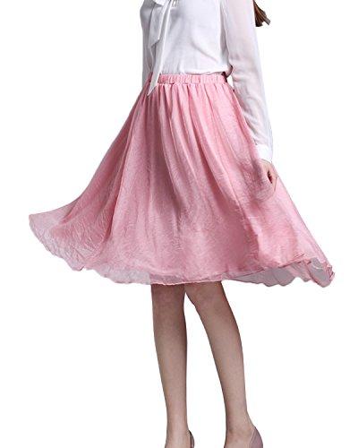 Minetom Damen Rocke Frauen Boho Plissee Retro Maxi Rock Elastisch Bund Tanz Kleid Party Chiffon Rock Pink One (Kostüm Tutu Teller)