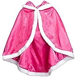 Labellevie Capa Disfraces de Princesa Costume para Niñas Disfraces para Halloween Rosa roja 120cm