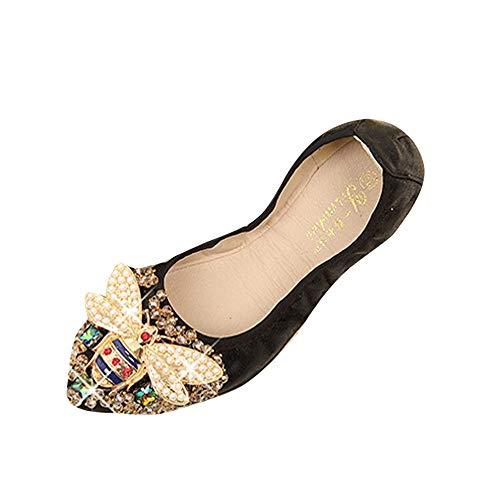 Damen Sandalen,ABsoar Frau Plus Größe Kristall Flache Schuhe Komfortable Strass Mokassins Weiche Biene Schuhe Segelschuhe Espadrilles