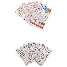 MagiDeal 11 Hojas Pegatinas Adhesiva Decorativa para Diario Álbumes de Recortes Tarjetas