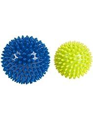 Hudora Massagebälle, Blau/Gelb,76769, 2er Pack