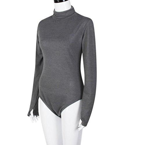 Jumpsuit Kolylong® Frauen reizvoller hoch necked langer Hülse ...