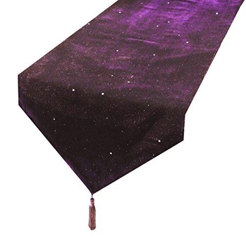 Lila Tischläufer Luxus Samt Pailletten Tischläufer / Tischdecke Couchtisch Tuch mit Quasten (33 x 183 cm)