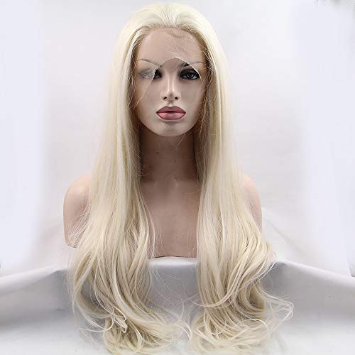 Lace Front Sintéticas Recto Estilo Encaje Frontal Peluca Rubio Blonde Pelo18-26 pulgada Mujer Entradas Peluca Larga 180% Densidad del Pelo humano Peluca Natural / Sí:Blonde ()