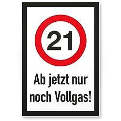 DankeDir! 21 Jahre Vollgas - Kunststoff Schild, Geschenk 21. Geburtstag, Geschenkidee Geburtstagsgeschenk Einundzwanzig, Geburtstagsdeko/Partydeko/Party Zubehör/Geburtstagskarte