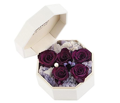 SHFANG Konservierte frische Blumen Geschenk Verpackung für ihr Valentinstag Geburtstagsgeschenk Weihnachtsgeschenke Perle Dekoration Kunsthandwerk , 5 imported dazzle purple