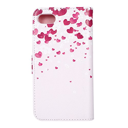 SainCat Apple iPhone 7 Custodia in Pelle,Anti-Scratch Protettiva Corpertura Caso Custodia Per iPhone 7,Elegante Creativa Dipinto Pattern Design PU Leather Flip Ultra Slim Sottile Morbida Portafoglio W cuore rosa