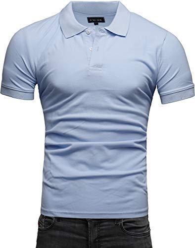 Crone Paul Basic Herren Slim Fit Polo Shirt aus Pique Baumwolle Kurzarm Polohemd (L, Hellblau) -