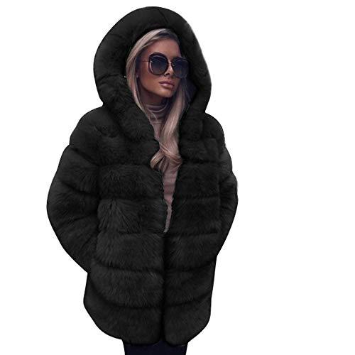 (i-uend 2019 Damen Mantel,Frauen Winter warme Pelzjacke Mode Modern Herbst Winter Einfarbig Kurzer Absatz Hoodie Jacke Fellmantel Parka Kunstpelz Mantel Pelzmantel Hoodie)