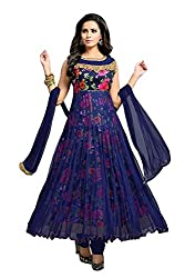 Clickedia Women's Net and Satin Flower Print Anarkali Dress Material (Blue Free Size)