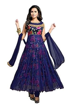 Clickedia Women's Net Semi-Stitched Anarkali Free Size (Blue)