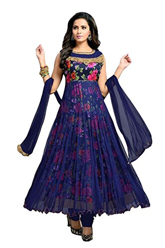 Clickedia Women\'s Net and Satin Flower Print Anarkali Dress Material (Blue Free Size)